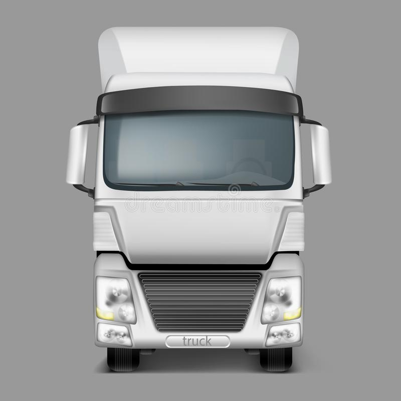 För realistisk främre sikt lastlastbil för vektor 3d royaltyfri illustrationer