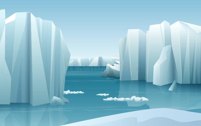 För realistisk landskap för is naturvinter för tecknad film arktiskt med isberg- och snöbergkullar vektor illustrationer