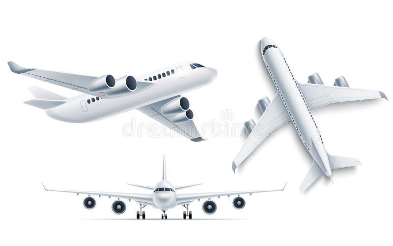 För realistiskt vit modell 3d flygplanflygplan för vektor vektor illustrationer