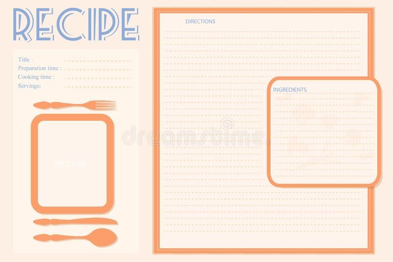 För receptkort för vektor retro orientering stock illustrationer