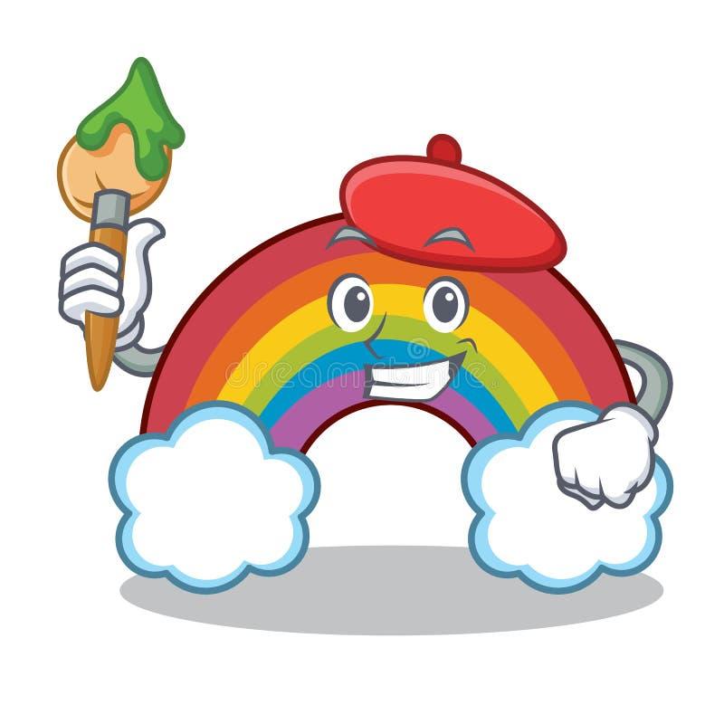 För regnbågetecken för konstnär färgrik tecknad film stock illustrationer