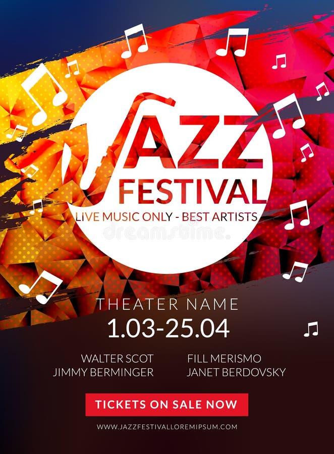 För reklambladjazz för vektor musikalisk festival Mall för reklamblad för broschyr för festival för musikaffischbakgrund royaltyfri illustrationer