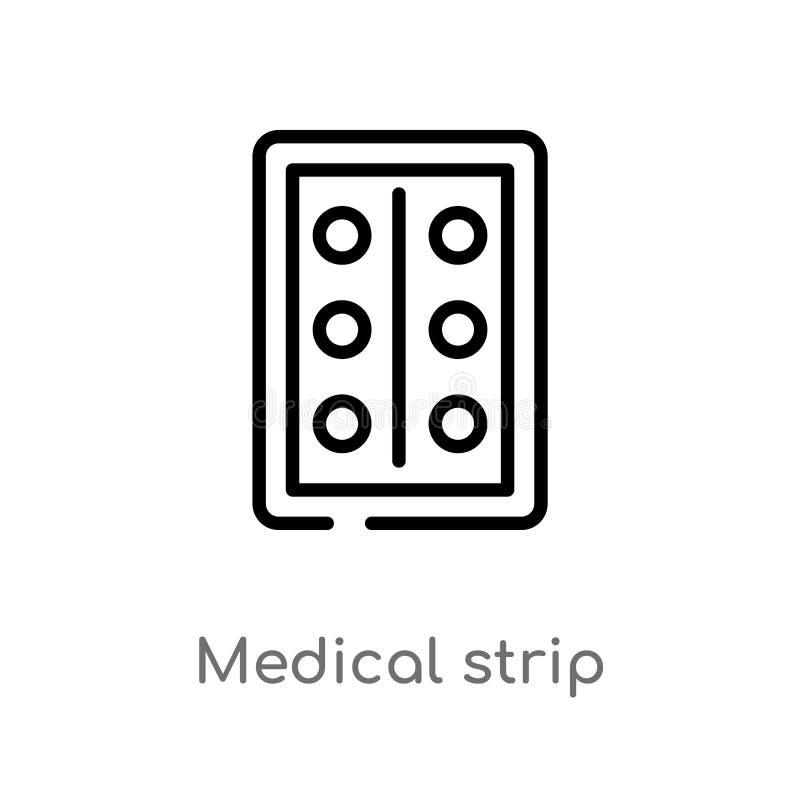 för remsavektor för översikt medicinsk symbol isolerad svart enkel linje beståndsdelillustration från vård- och medicinskt begrep royaltyfri illustrationer