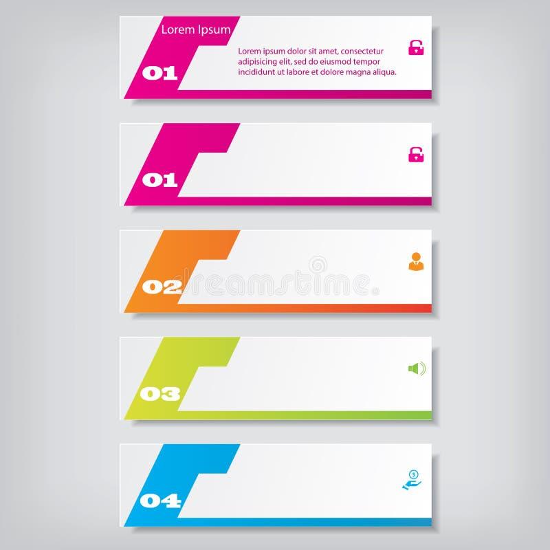 För rengöringnummer för modern design baner med affärsidéen som används för websiteorientering Infographic royaltyfri illustrationer
