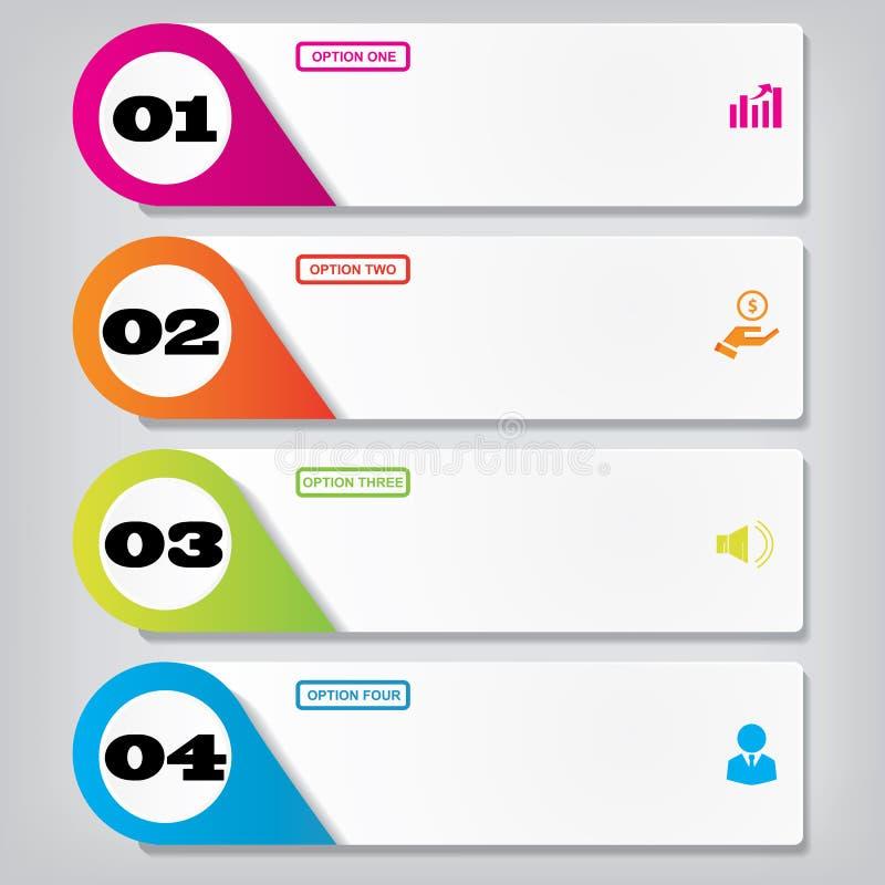 För rengöringnummer för modern design baner med affärsidéen som används för websiteorientering Infographics royaltyfri illustrationer