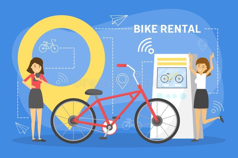 För rengöringsdukbaner för cykel uthyrnings- begrepp Hyracykel royaltyfri illustrationer