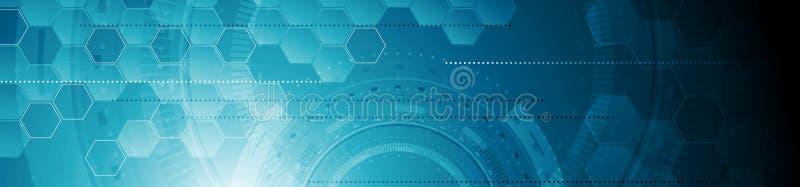 För rengöringsduktitelrad för abstrakt tech industriellt geometriskt baner royaltyfri illustrationer