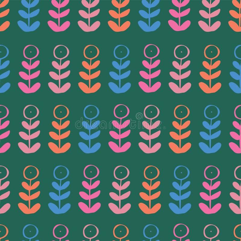 F?r repetitionmodell f?r gr?n bl? rosa orange blom- v?xt grafisk s?ml?s design stock illustrationer