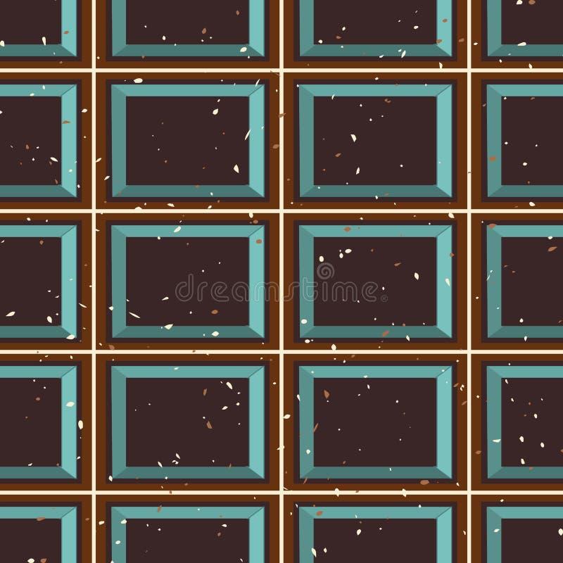 För repetitionmodellen för geometrisk abstrakt tartan framförde sömlös bakgrund för att frammana en chokladminnestavlatextur royaltyfri illustrationer