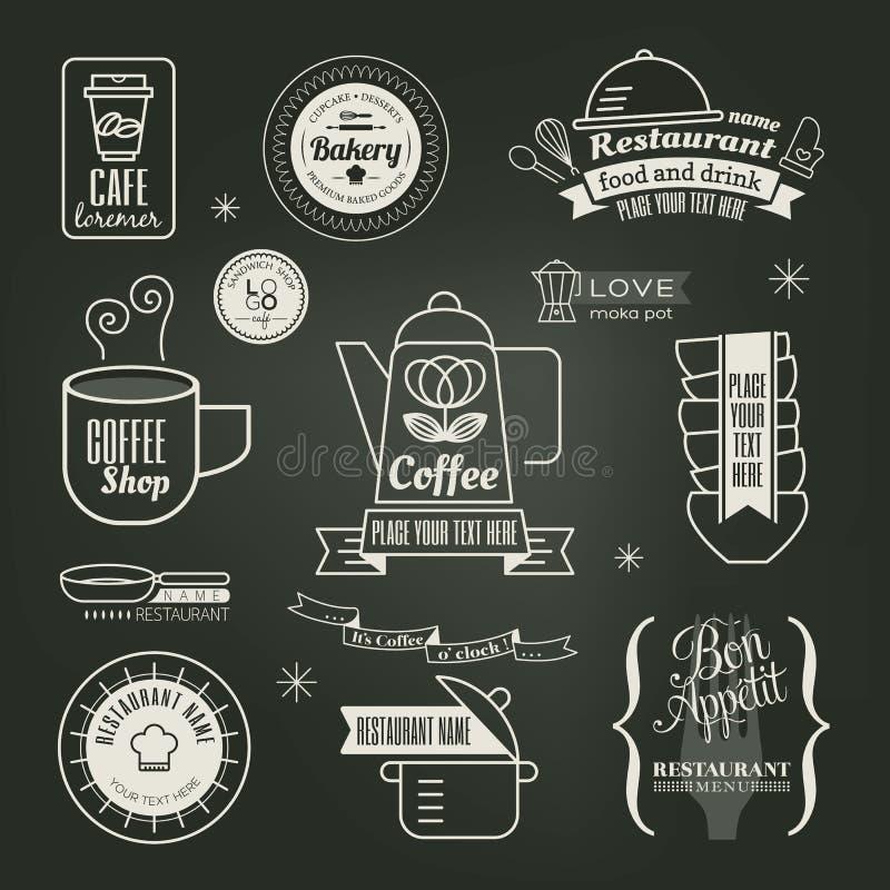 För restaurangkafé för tappning retro design för logo stock illustrationer