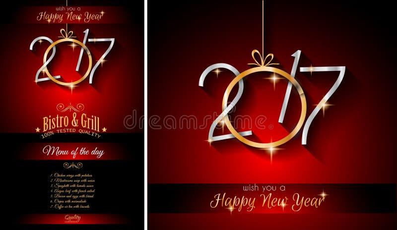2017 för restaurangmeny för lyckligt nytt år bakgrund för mall stock illustrationer