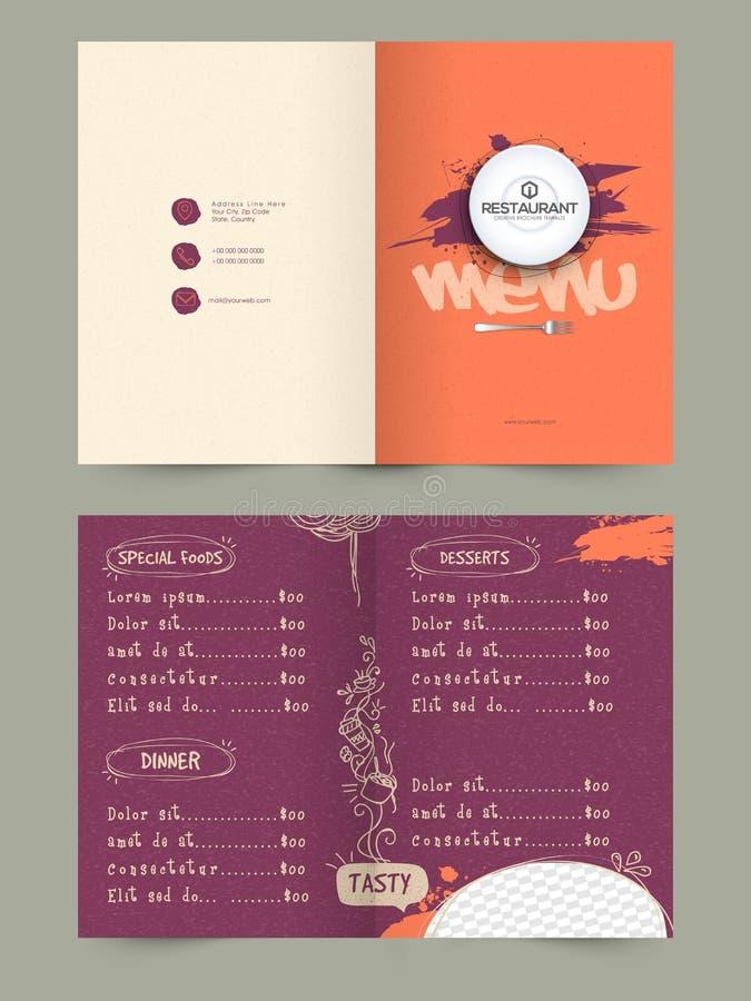 För restaurangmeny för två sida design för kort royaltyfri illustrationer