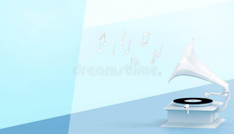 För Retro antik stil tappninggrammofon för musik och drabegrepp på pastellfärgad blå bakgrund royaltyfri illustrationer