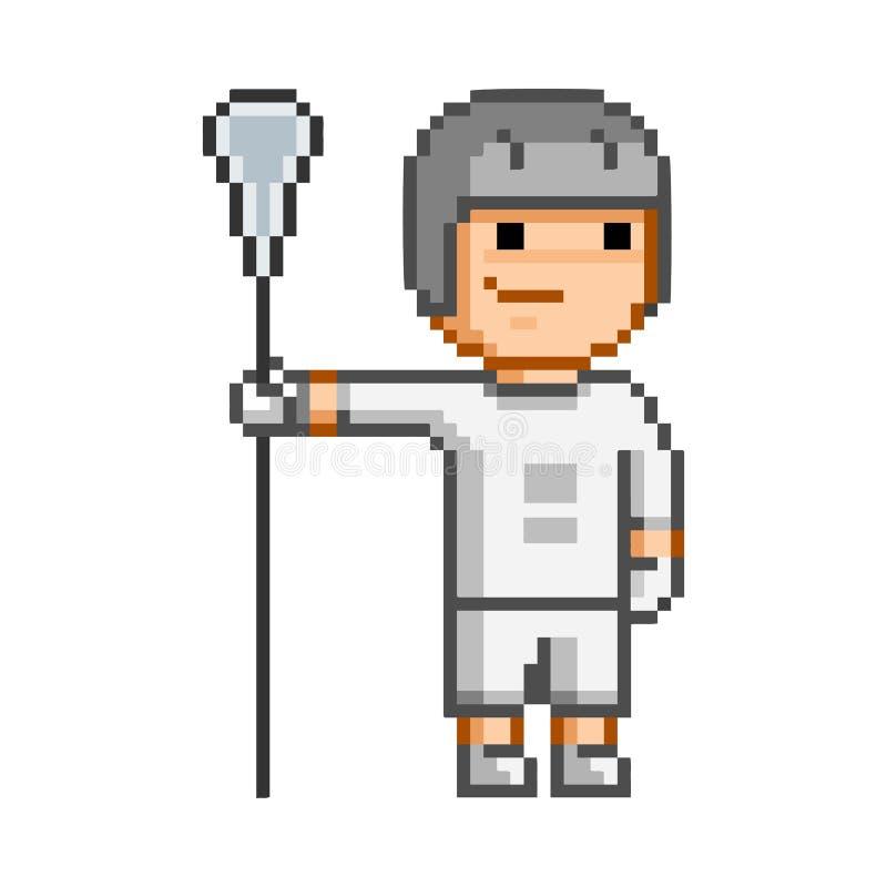 För retro spelare för lacrosse PIXELkonst för vektor rolig royaltyfri illustrationer
