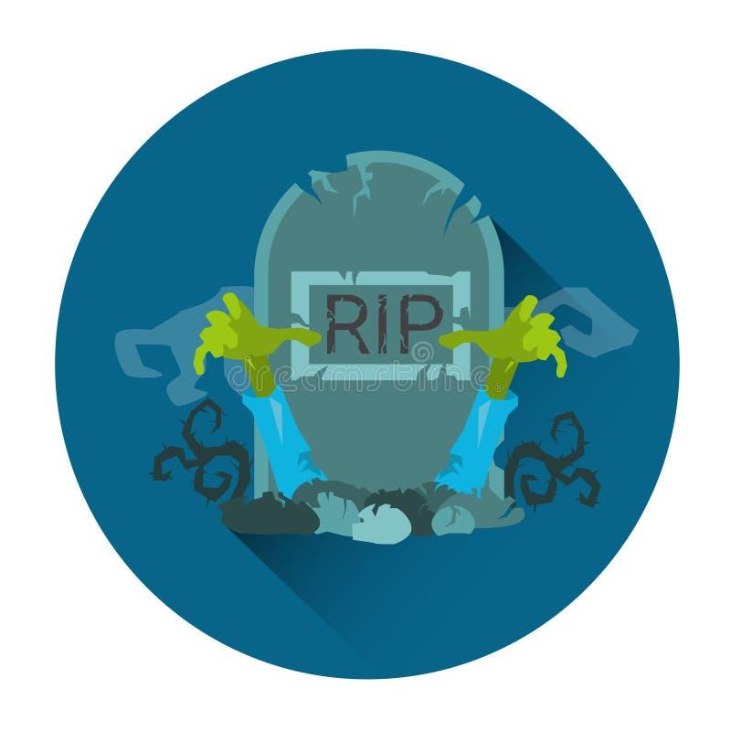 För REVAsten för gravvalv allvarlig symbol för ferie för allhelgonaafton för levande död vektor illustrationer