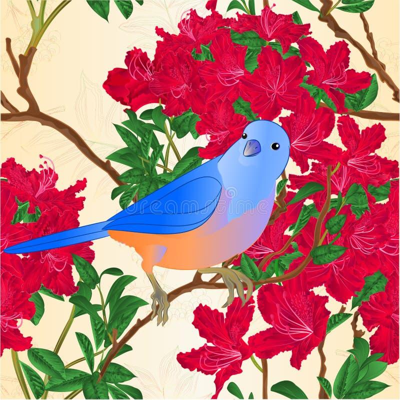 För rhododendronfilial för sömlös textur redigerbar röd illustration för vektor för tappning för buske för berg vektor illustrationer