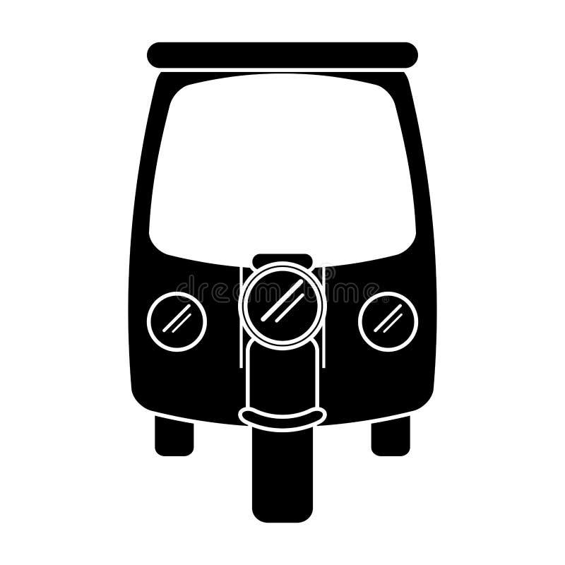 För rickshawtransport för kontur motorisk trehjuling stock illustrationer