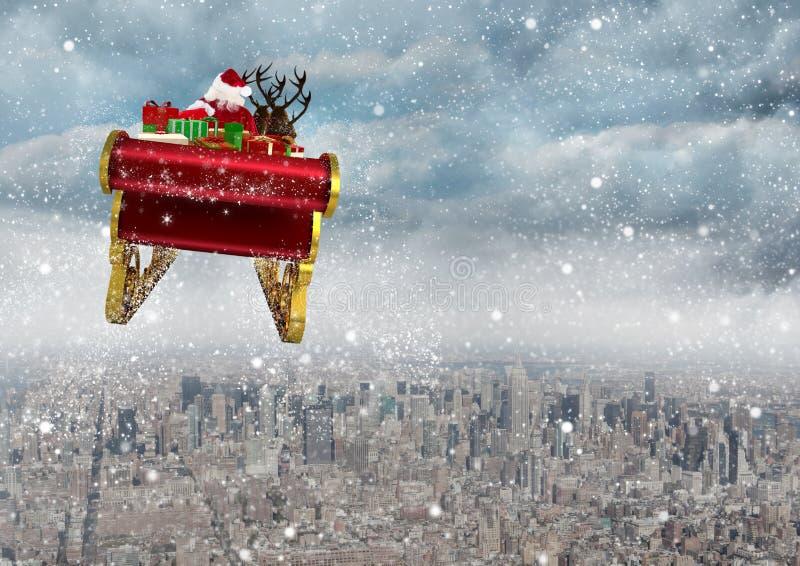 för ridningren för 3D Santa Claus släde ovanför staden royaltyfri illustrationer