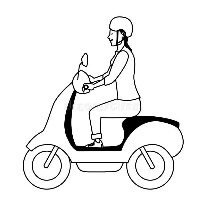 För ridningsparkcykel för ung kvinna motorcykel i svartvitt vektor illustrationer