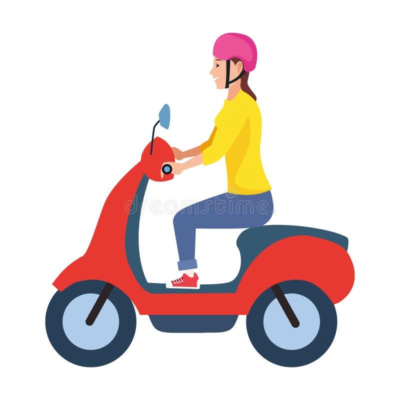 För ridningsparkcykel för ung kvinna motorcykel vektor illustrationer
