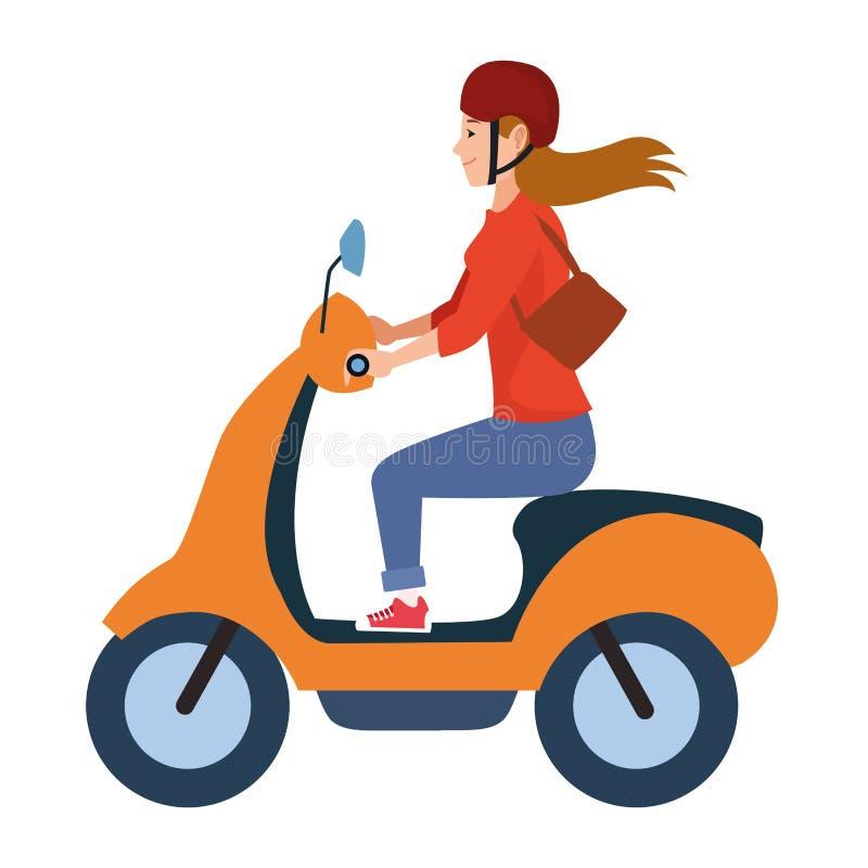För ridningsparkcykel för ung kvinna motorcykel stock illustrationer