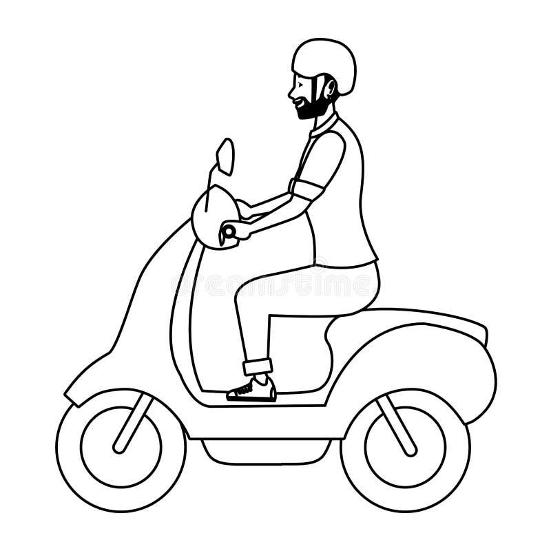 För ridningsparkcykel för ung man motorcykel i svartvitt vektor illustrationer