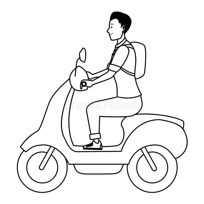 För ridningsparkcykel för ung man motorcykel i svartvitt stock illustrationer