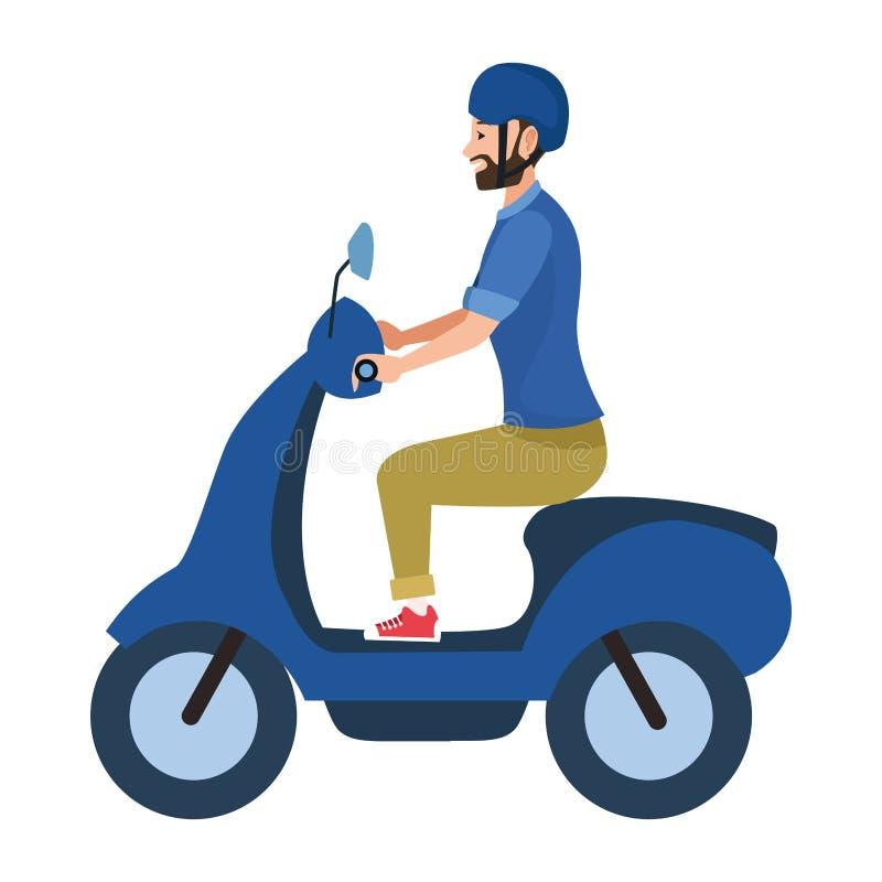 För ridningsparkcykel för ung man motorcykel vektor illustrationer