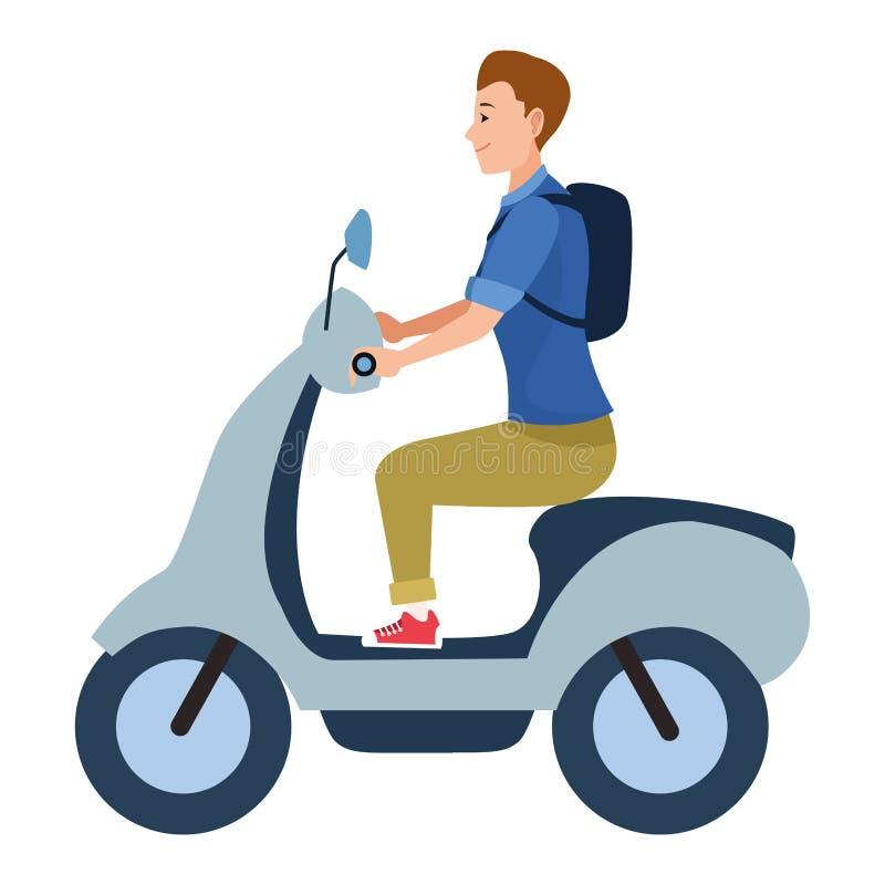 För ridningsparkcykel för ung man motorcykel royaltyfri illustrationer