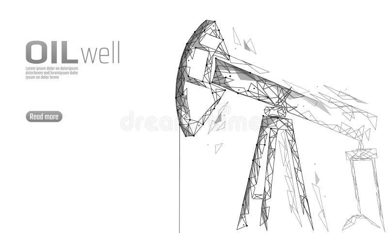 För riggjuck för olje- brunn låg poly affärsidé Produktion för bensin för finansekonomi polygonal Oljabränslebransch royaltyfri illustrationer