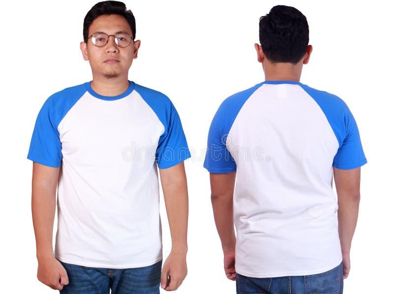 För Ringerskjorta för vit blå mall för modell arkivbilder