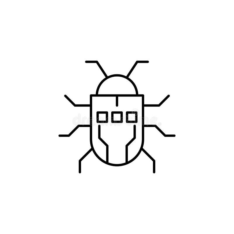 För robotfel för robotteknik utskjutande symbol för översikt Tecknet och symboler kan användas för rengöringsduken, logoen, den m stock illustrationer