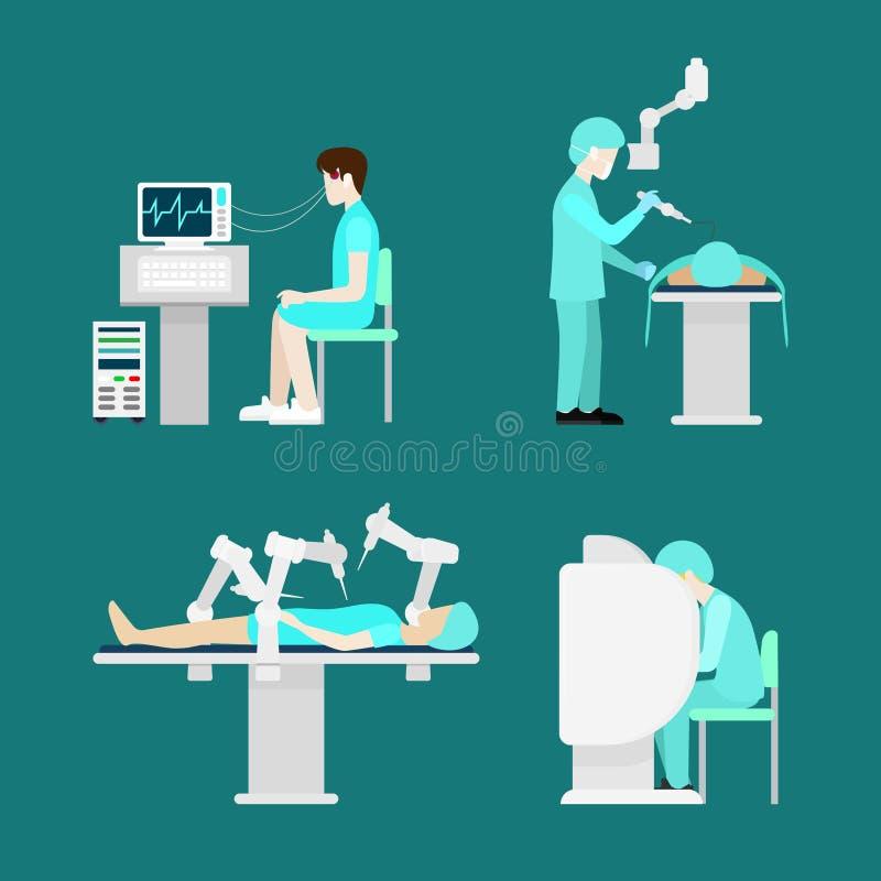 För robotkirurgi för behandling robotic hospita för lägenhet för hjärna stock illustrationer