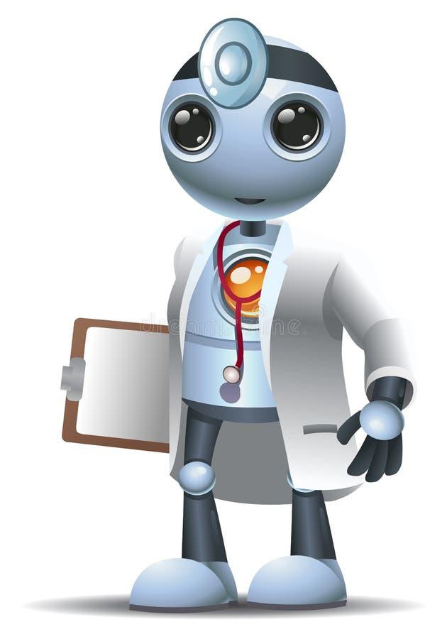 för robotkirurgi för lycklig droid liten doktor på isolerad vit vektor illustrationer