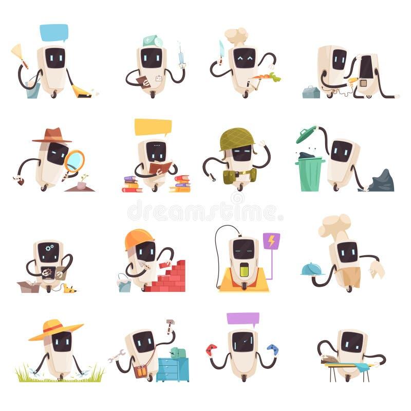 För robotsymboler för konstgjord intelligens uppsättning royaltyfri illustrationer