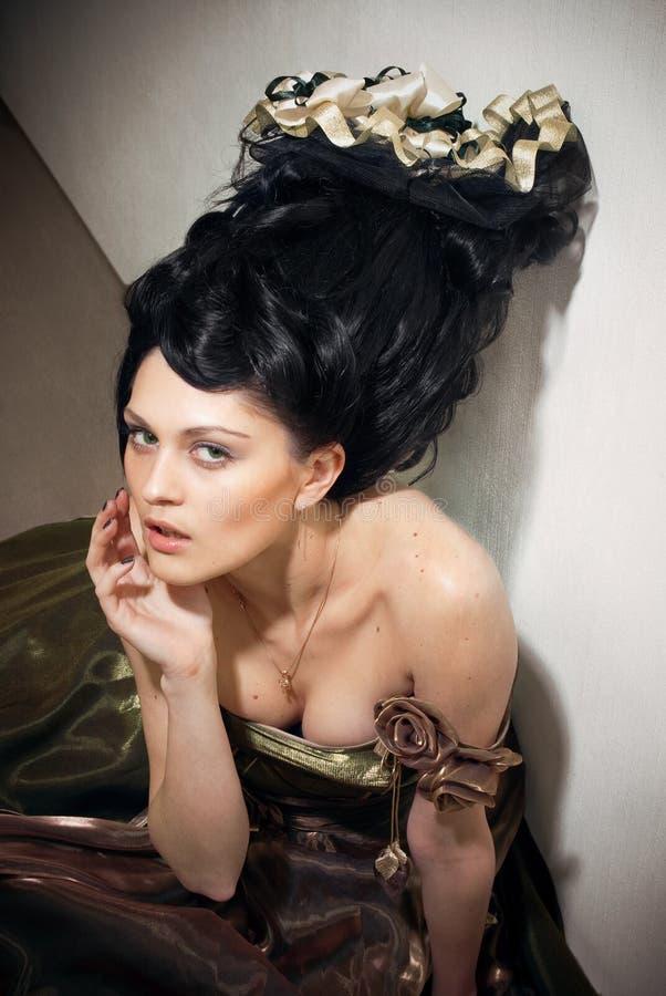 för roccostil för klänning lyxig kvinna royaltyfria bilder