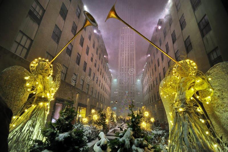 för rockefeller för center stad ny storm york snow royaltyfria bilder