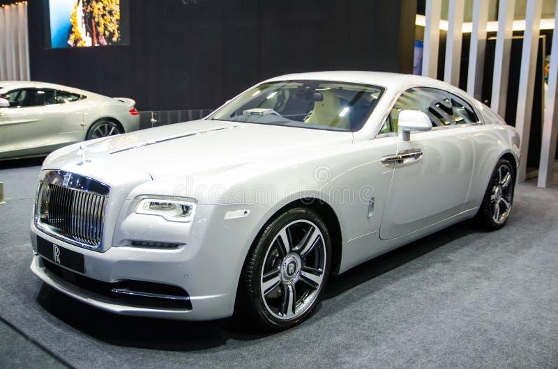 ` För Rolls Royce `-vålnad i vit-silver färg på Bangkok motorshow 2018 arkivfoto