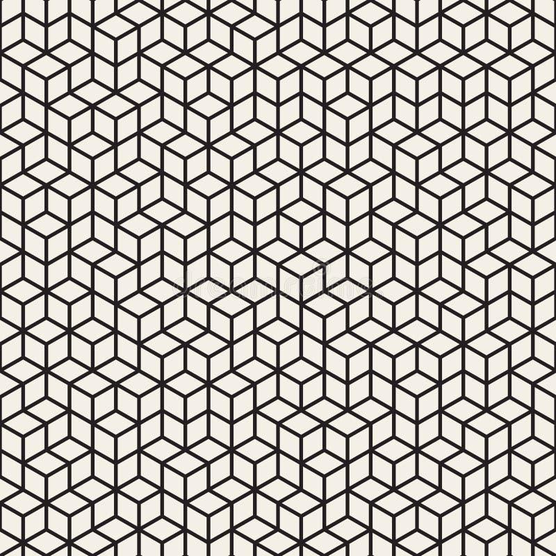 För rombraster för vektor sömlös svartvit ojämn modell royaltyfri illustrationer