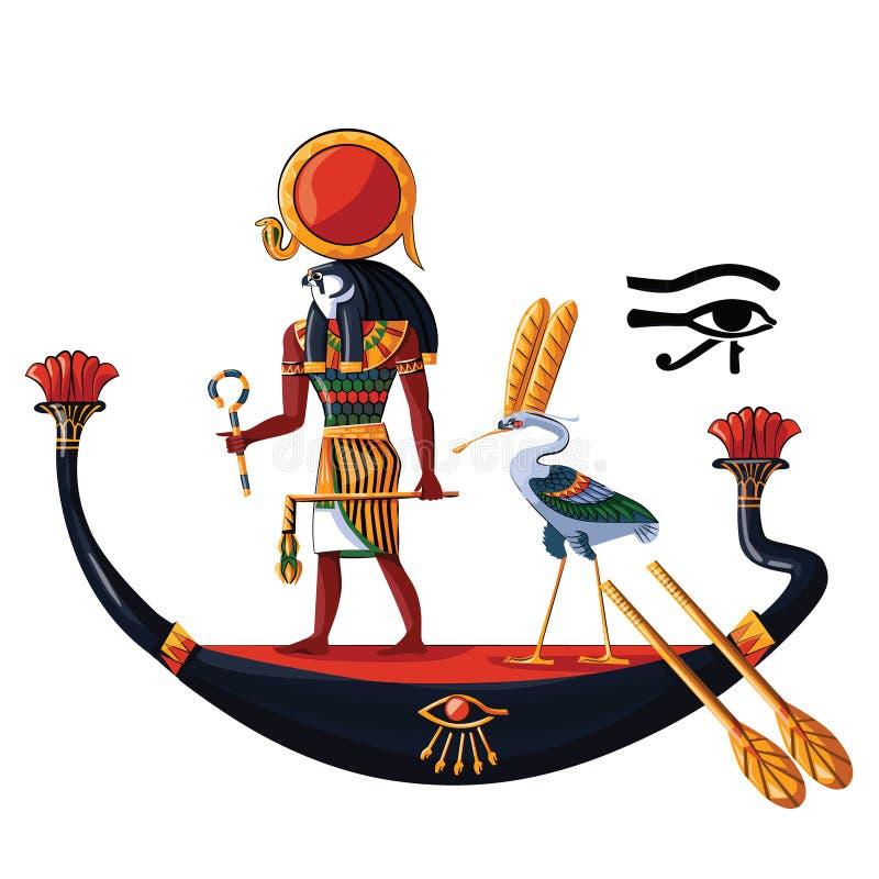 För rommar eller Horus för forntida Egypten solgud vektor för tecknad film royaltyfri illustrationer