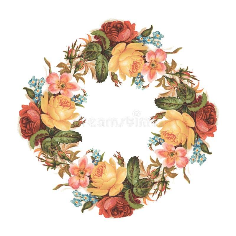 För rosa färg- och gulingtappning för tappning blommar den röda rosen bukettkransen vektor illustrationer