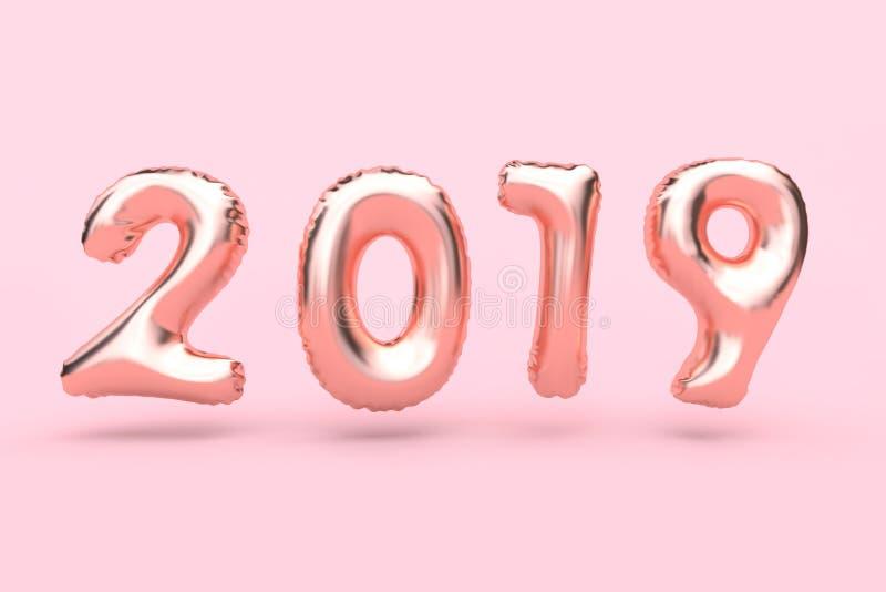 för rosa färg-ros för tolkning som 3d typ-nummer 2018 guld- abstrakt ballong svävar rosa begrepp för ferie för nytt år för bakgru vektor illustrationer