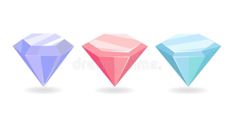 För rosa färgblått för färgrika dyrbara diamanter purpurfärgad färg vektor illustrationer