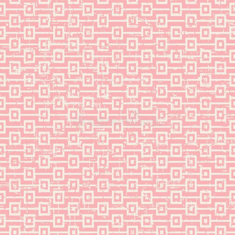 För rosa färgfyrkant för sömlös tappning sliten ut bakgrund för modell för följd royaltyfri illustrationer