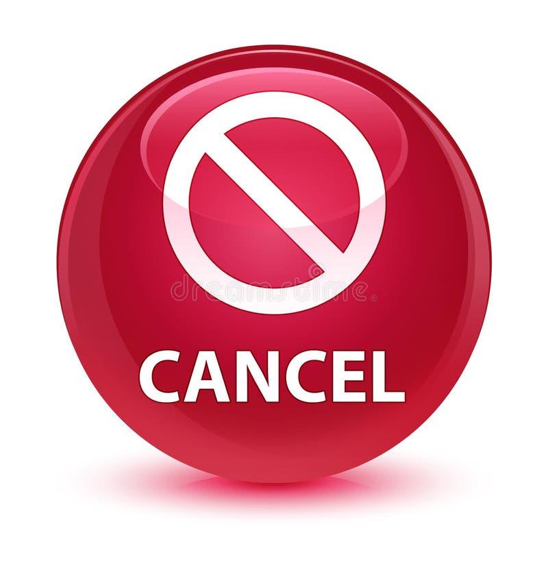 För rosa färgrunda för annullering (förbudteckensymbol) glas- knapp stock illustrationer
