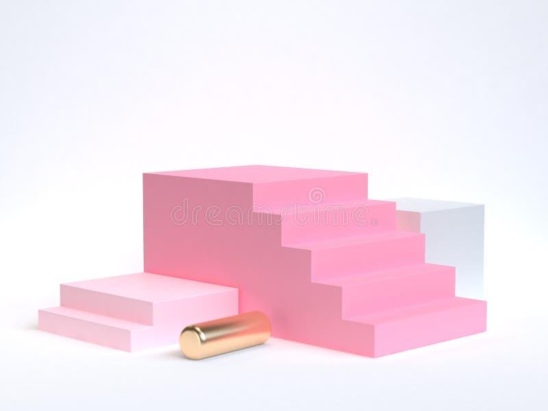 för rosa mjuk rosa guld- geometrisk form trappuppgång-trappa för tolkning 3d vit bakgrund vektor illustrationer