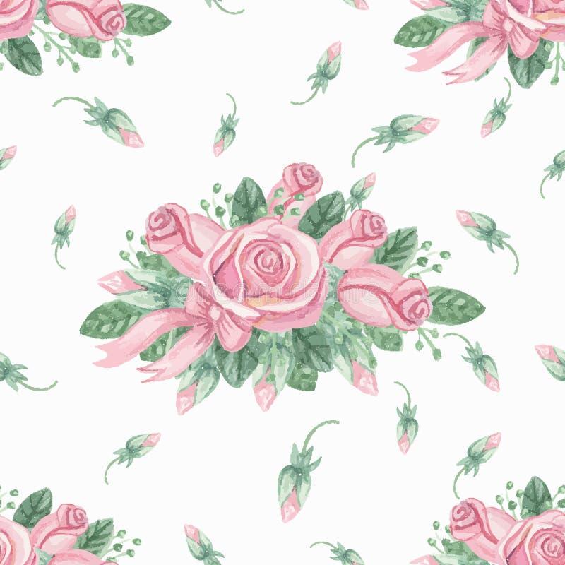 För rosa sömlös modell rosgrupp för vattenfärg budgie vektor illustrationer