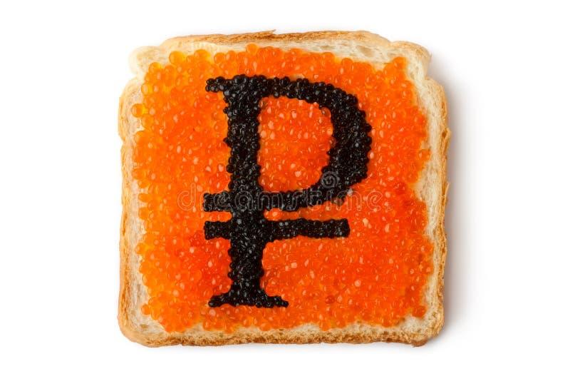 för roubleryss för kaviar monetär smörgås royaltyfria foton