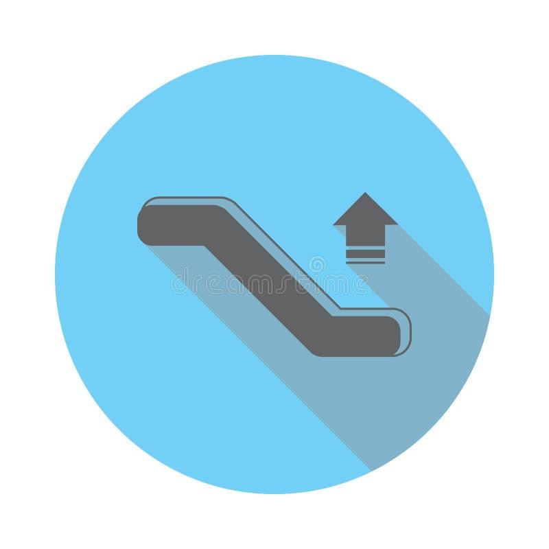 För rulltrappa symbol ner Beståndsdelar av flygplatsen i lägenhetblått färgade symbolen Högvärdig kvalitets- symbol för grafisk d royaltyfri illustrationer