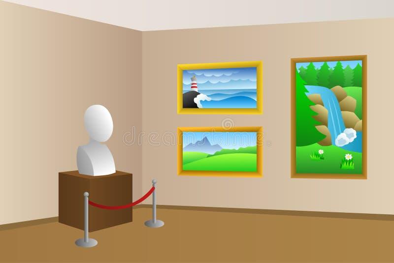 För ruminre för museum beige illustration royaltyfri illustrationer